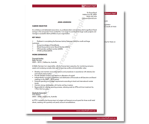 accounting cv template robert half